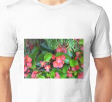 Red delicate flowers and green leaves pattern Unisex T-Shirt