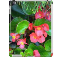 Red delicate flowers and green leaves pattern iPad Case/Skin