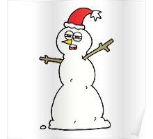 cartoon unhappy snowman Poster