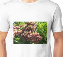 Natural background with red flower branch and green leaves Unisex T-Shirt