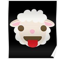 Sheep Emoji Tongue Out Poster