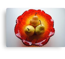 Three Golden Pears Canvas Print