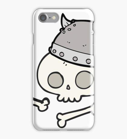 cartoon viking helmet on skull iPhone Case/Skin