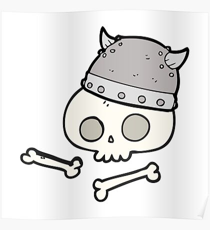 cartoon viking helmet on skull Poster