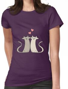 cartoon cats in love Womens Fitted T-Shirt