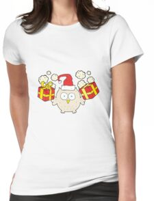 cartoon christmas owl Womens Fitted T-Shirt
