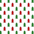 Christmas tree red and green pattern by yashroom