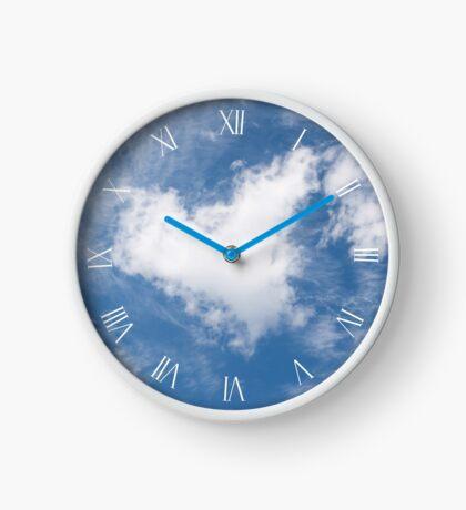 White clouds heart symbol Clock