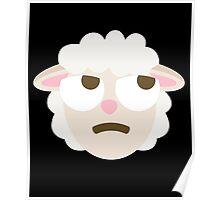 Sheep Emoji Thinking Hard and Hmm Look Poster