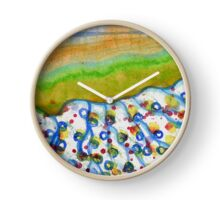 Curved Hill with Blue Rings Clock