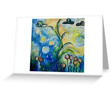Unfurling - Leaf Painting with Clouds Greeting Card