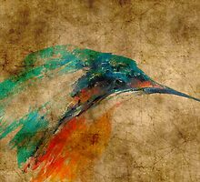 Kingfisher acrylics on paper textures by JamesPeart