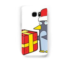 cartoon christmas penguin with present Samsung Galaxy Case/Skin