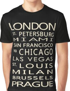 Classic Cities Old Bus Sign Graphic T-Shirt