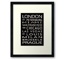 Classic Cities Old Bus Sign Framed Print