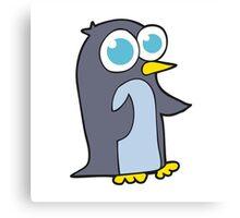 cartoon penguin with big eyes Canvas Print