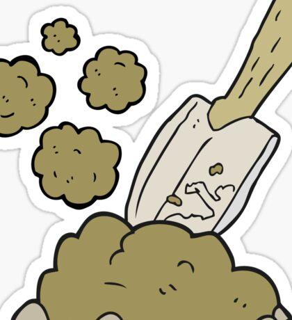 cartoon trowel digging earth Sticker