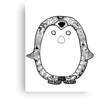 Hipster Penguin Zentangle Canvas Print