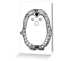 Hipster Penguin Zentangle Greeting Card