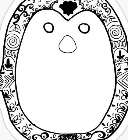 Hipster Penguin Zentangle Sticker