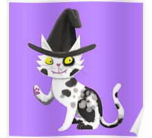 Black and white witches cat Poster