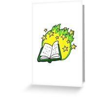 cartoon magic spell book Greeting Card