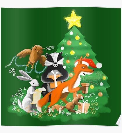 Animals of the woods at Christmas Poster