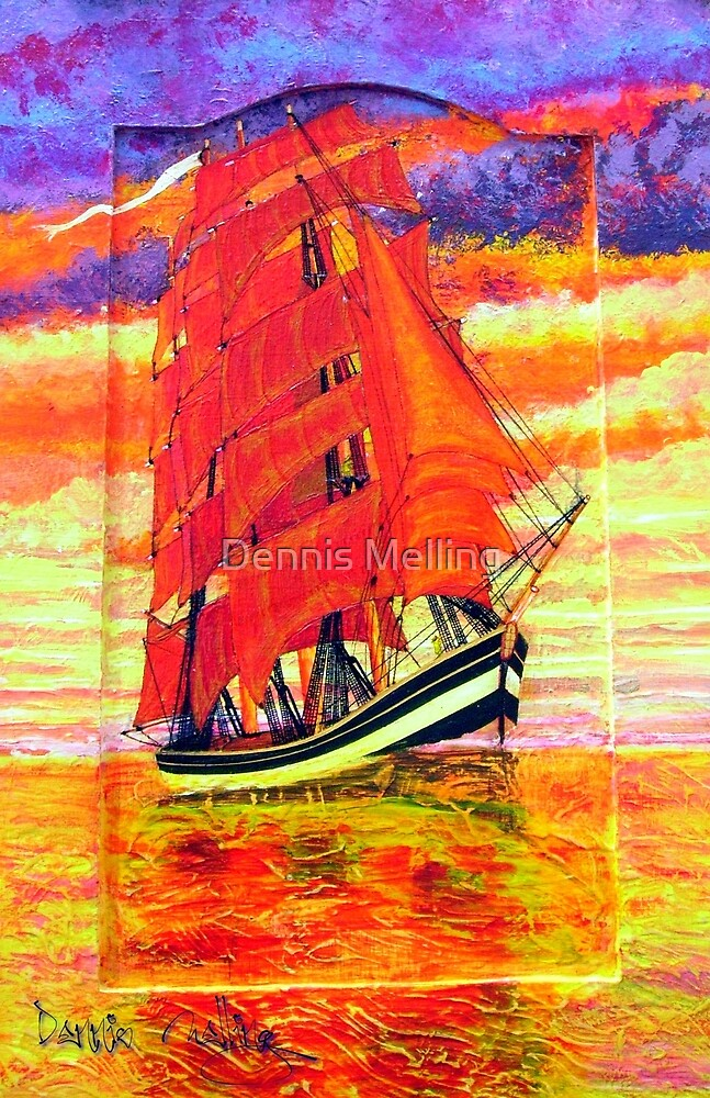 An Acrylic painting of a Clipper Ship Wearing Red Sails by Dennis Melling