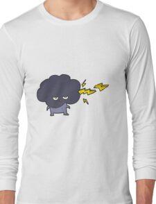 cartoon raincloud character shooting lightning Long Sleeve T-Shirt