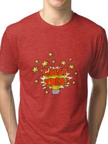 cartoon great idea light bulb symbol Tri-blend T-Shirt