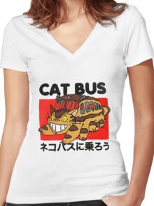Cat Bus Women's Fitted V-Neck T-Shirt