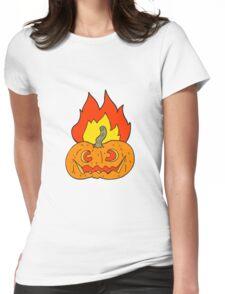 cartoon flaming halloween pumpkin Womens Fitted T-Shirt