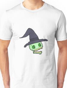 cartoon skull wearing witch hat Unisex T-Shirt