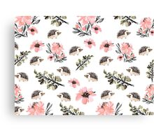 Hedgehog Florals Canvas Print