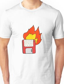 cartoon old computer disk burning Unisex T-Shirt