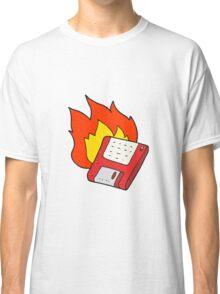 cartoon old computer disk burning Classic T-Shirt