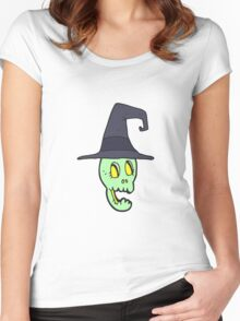 cartoon skull wearing witch hat Women's Fitted Scoop T-Shirt