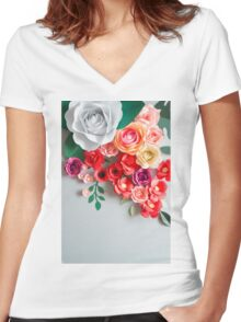 Paper flowers Women's Fitted V-Neck T-Shirt