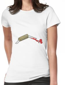 cartoon bloody folding knife Womens Fitted T-Shirt