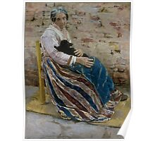 An Old Woman with Cat - Max Liebermann - 1878 Poster