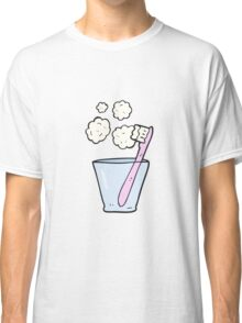 cartoon toothbrush in glass Classic T-Shirt