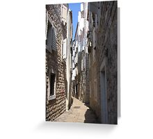 Narrow road, Budva Greeting Card
