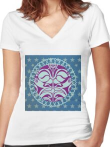 Traditional purple Mask on blue background. Women's Fitted V-Neck T-Shirt