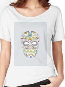 Sugar skull mexican folk art Women's Relaxed Fit T-Shirt