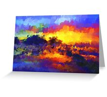 sunset sunrise abstract impressionist bright  Greeting Card
