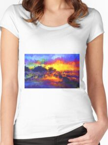 sunset sunrise abstract impressionist bright  Women's Fitted Scoop T-Shirt