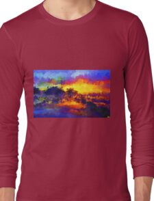 sunset sunrise abstract impressionist bright  Long Sleeve T-Shirt