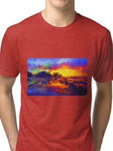 sunset sunrise abstract impressionist bright  Tri-blend T-Shirt