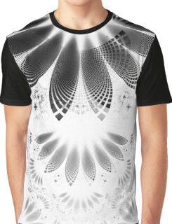 Silver Shikoba - Beautiful Black on White Fractal Paisley Forming Feathered Wings Graphic T-Shirt