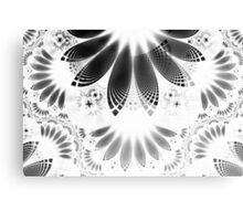 Silver Shikoba - Beautiful Black on White Fractal Paisley Forming Feathered Wings Canvas Print